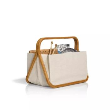 "Fold & Store Basket ""Canvas & Bamboo"" in Natur"